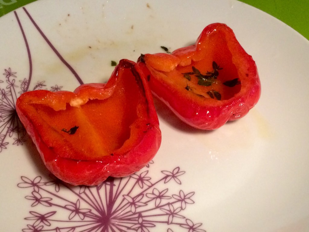 When the red pepper looks slightly charred, it's ready