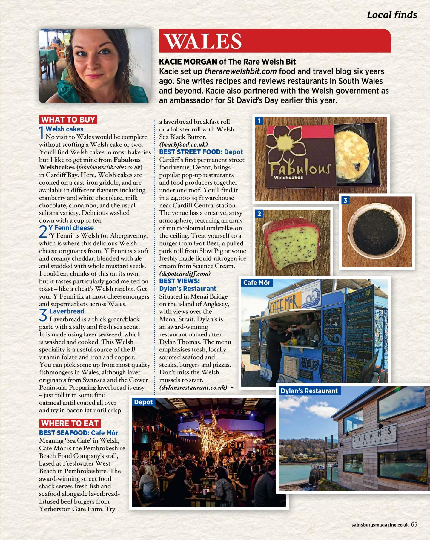 The Welsh page for Sainsbury's Magazine's UK regional food feature, written by Kacie Morgan