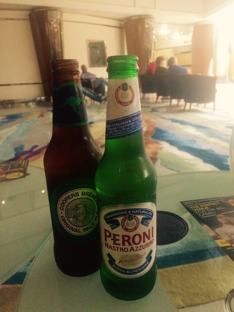 A bottle of Peroni beer and Cooper's Pale Ale