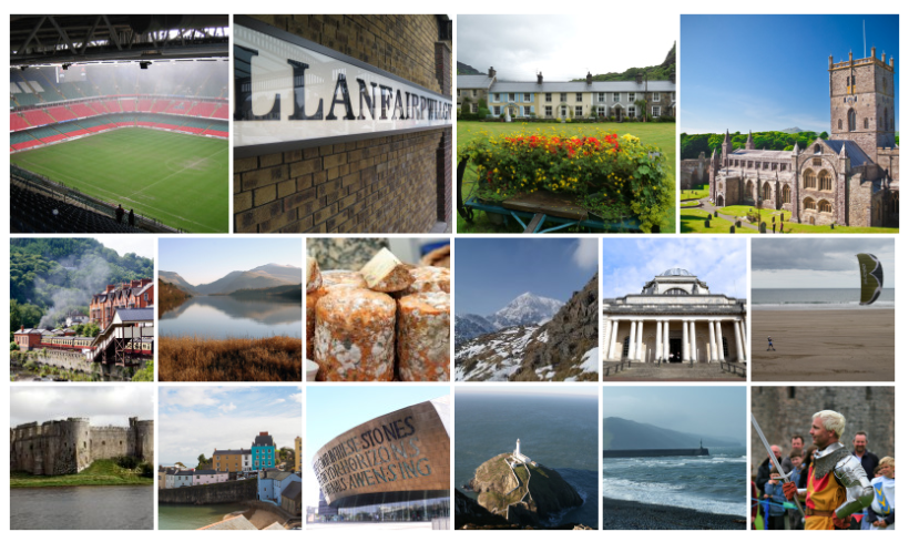 collage of Welsh imagery