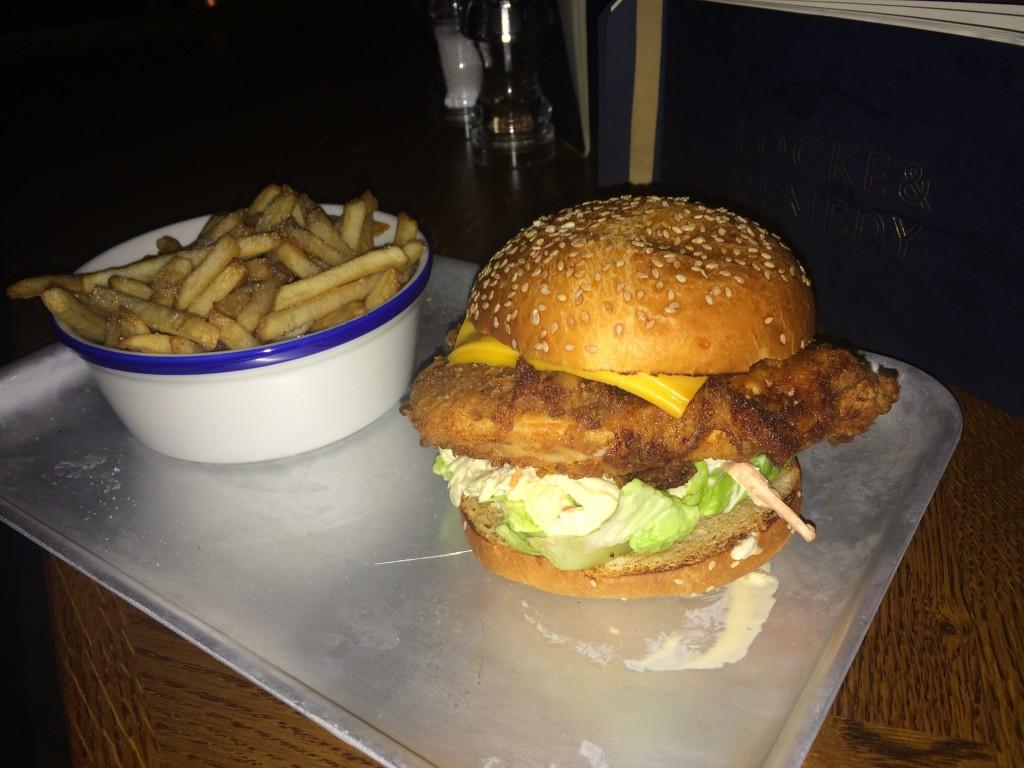 Buttermilk chicken burger with fries