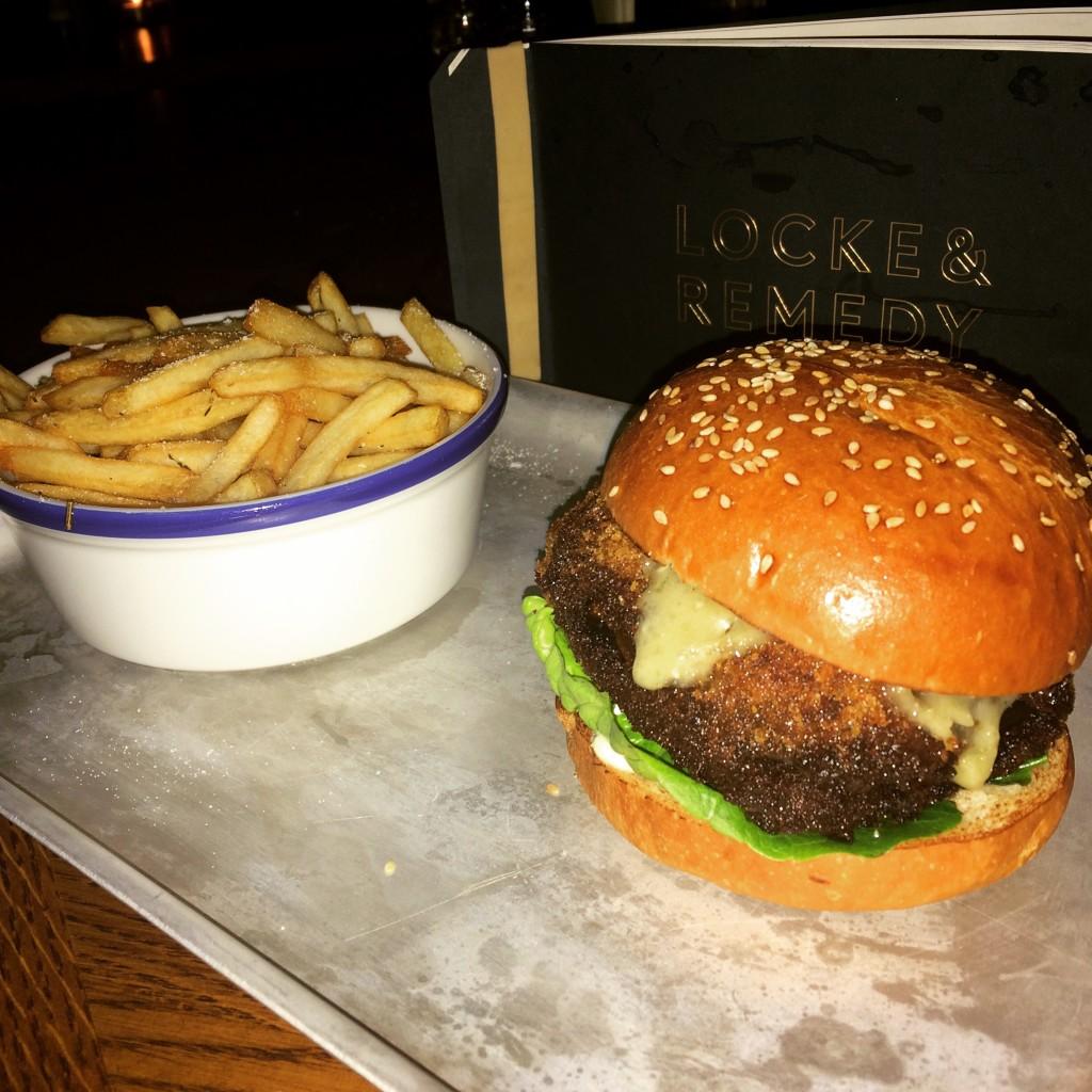 Mushroom and red onion burger