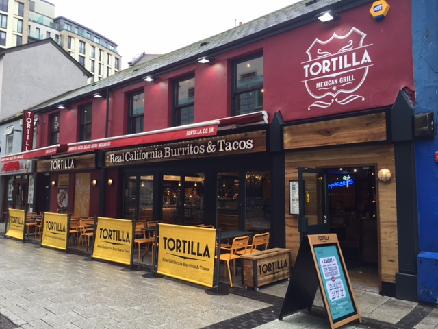Tortilla restaurant on Caroline St, Cardiff