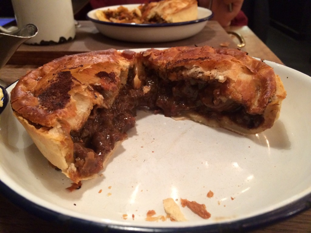 Mistle Moo pie, cut in half to expose filling