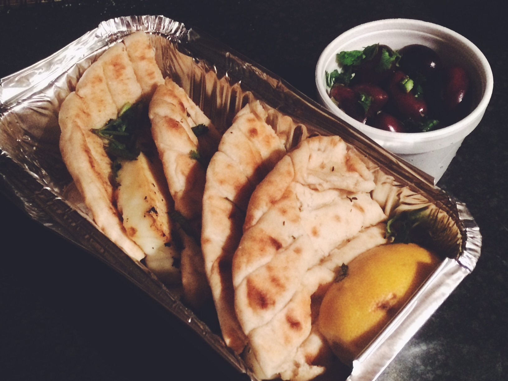 Greek pitta and halloumi with olives