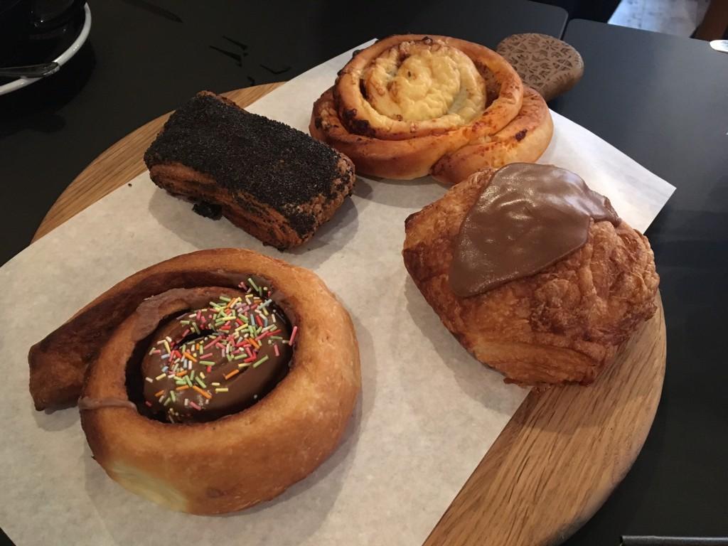 Four sweet Danish pastries