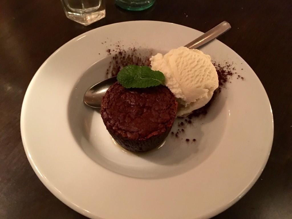 Chocolate pudding with vanilla icecream