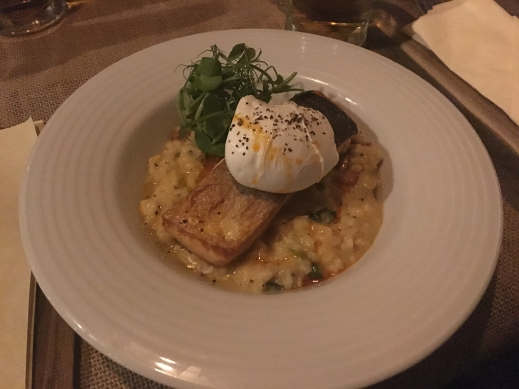 Salmon, poached egg and paprika on a bed of risotto