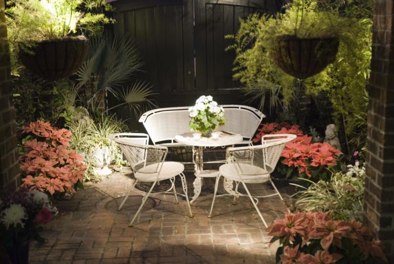 Nighttime patio
