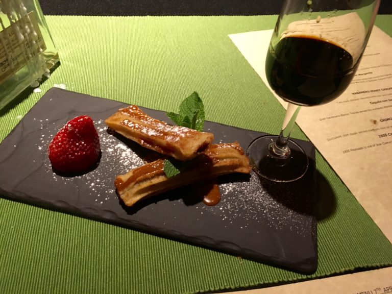Churros with chilli chocolate tequila for dipping