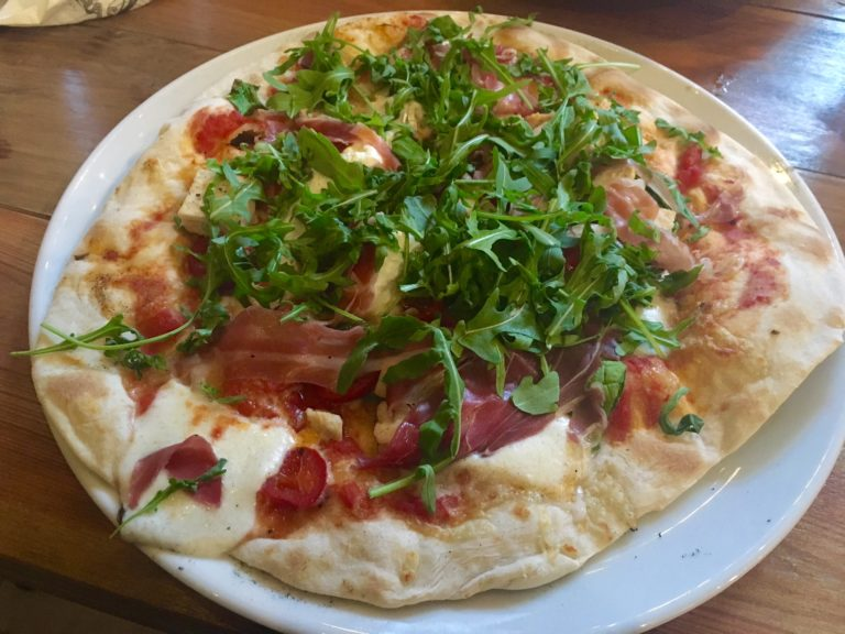 Sourdough pizza with toppings