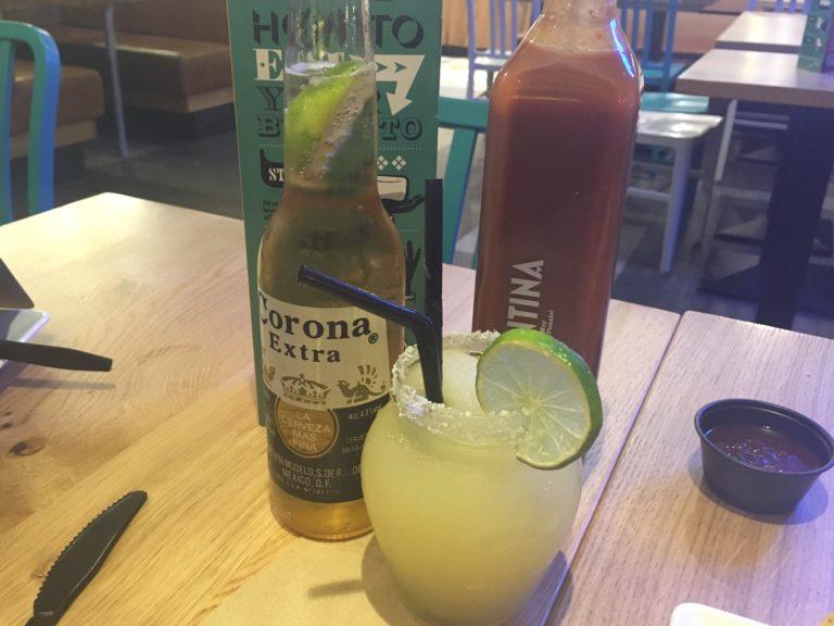Margarita and bottle of Corona