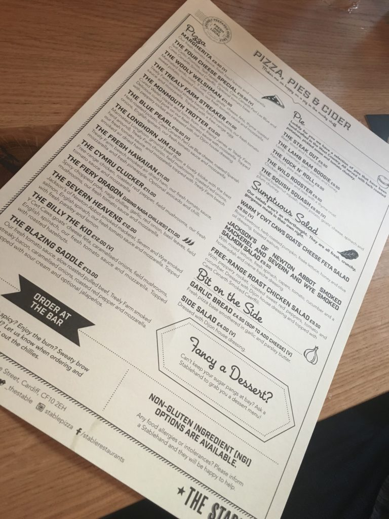 The Stable Cardiff's menu