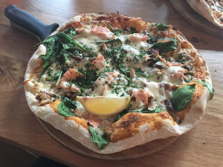 Salmon and mackerel-topped pizza at The Stable, Cardiff