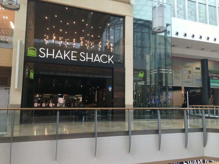 ShakeShack burger restaurant in St David's Shopping Centre, Cardiff