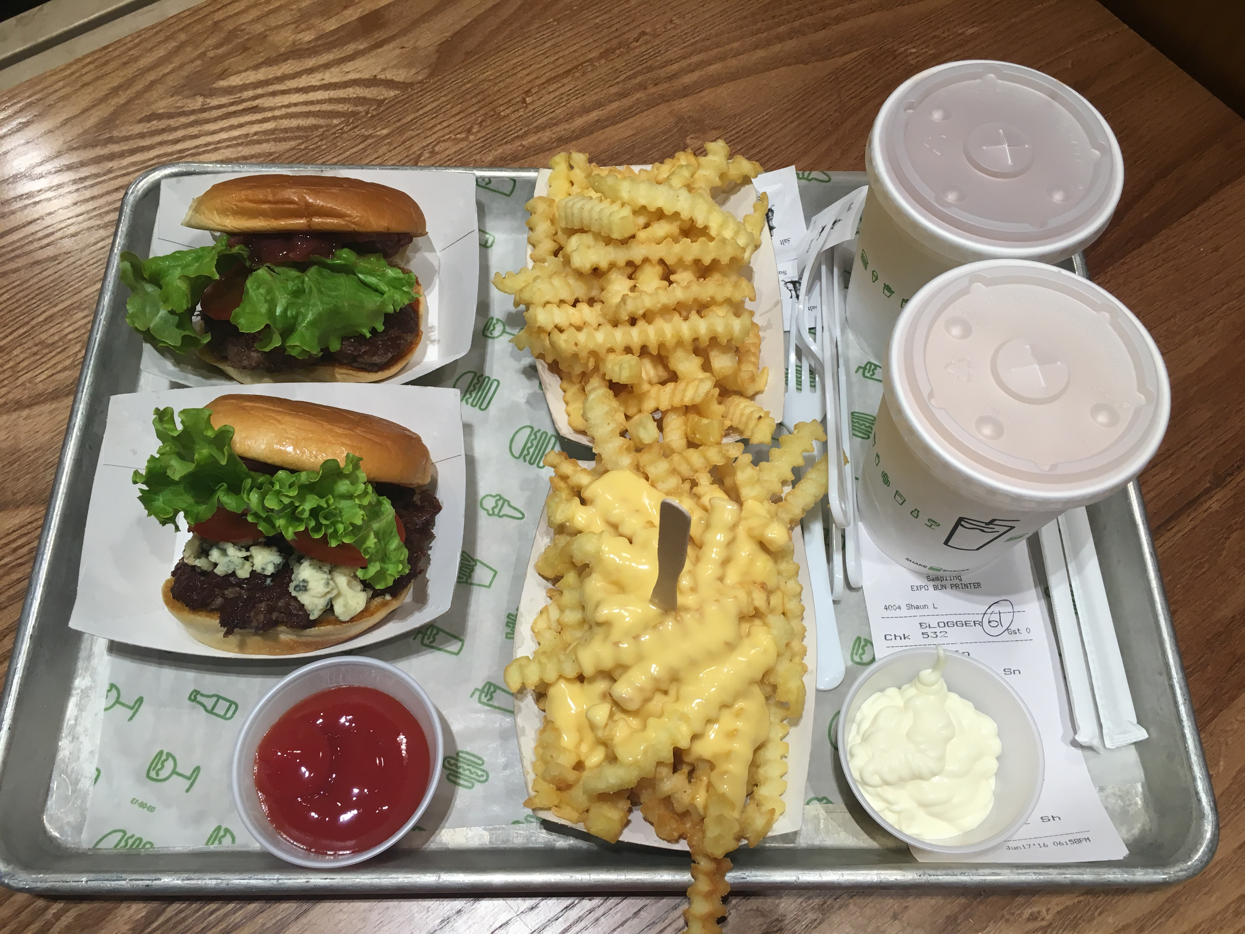 Burger and fries at ShakeShack Cardiff