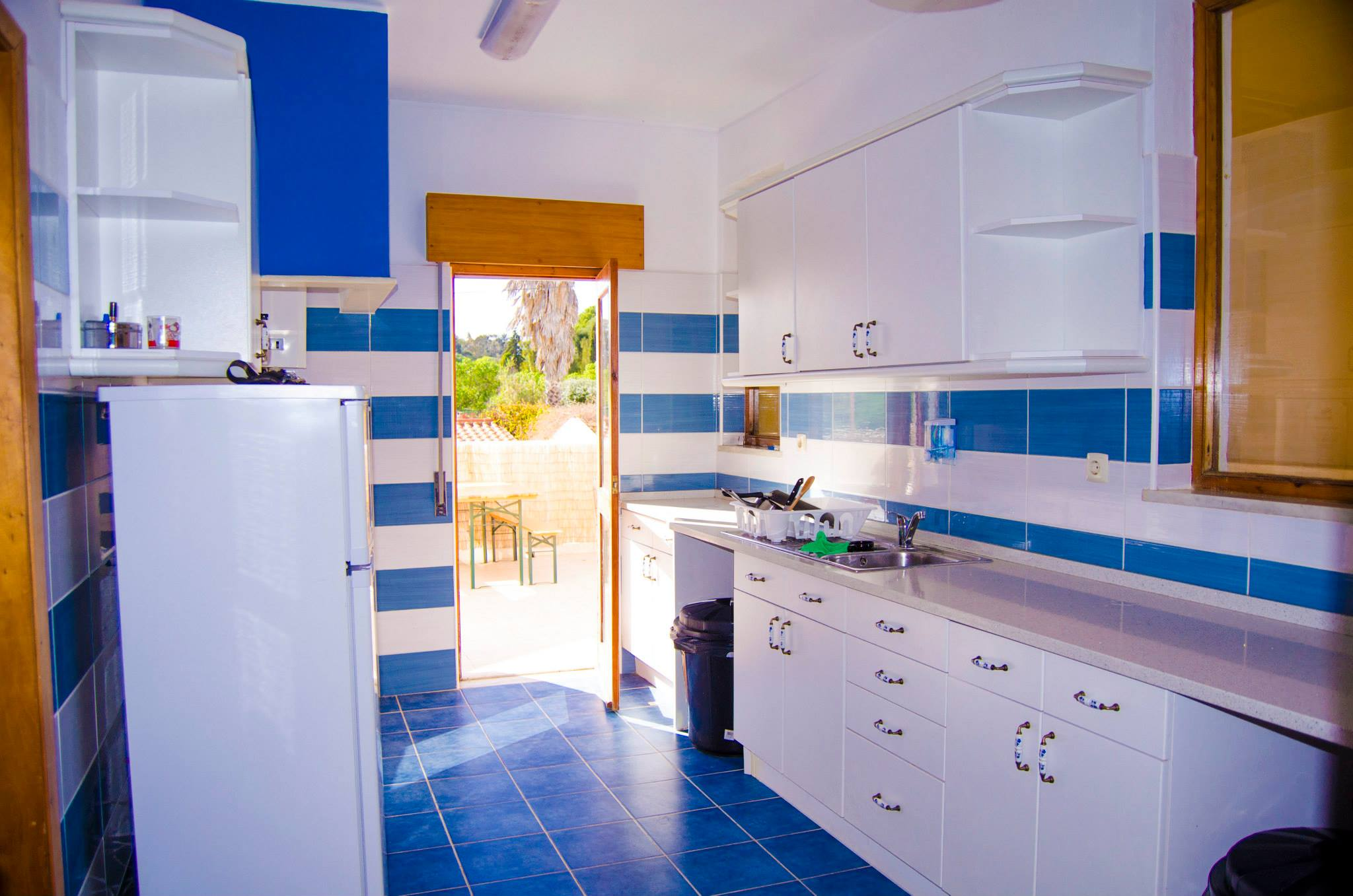 Kitchen in the Big Chill Hostel in Lagos in the Algarve, Portugal