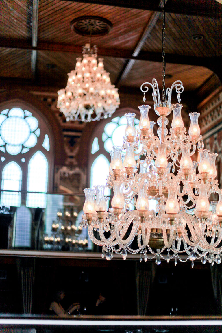 The chandeliers in Chapel 1877 Bar and Restaurant, Cardiff