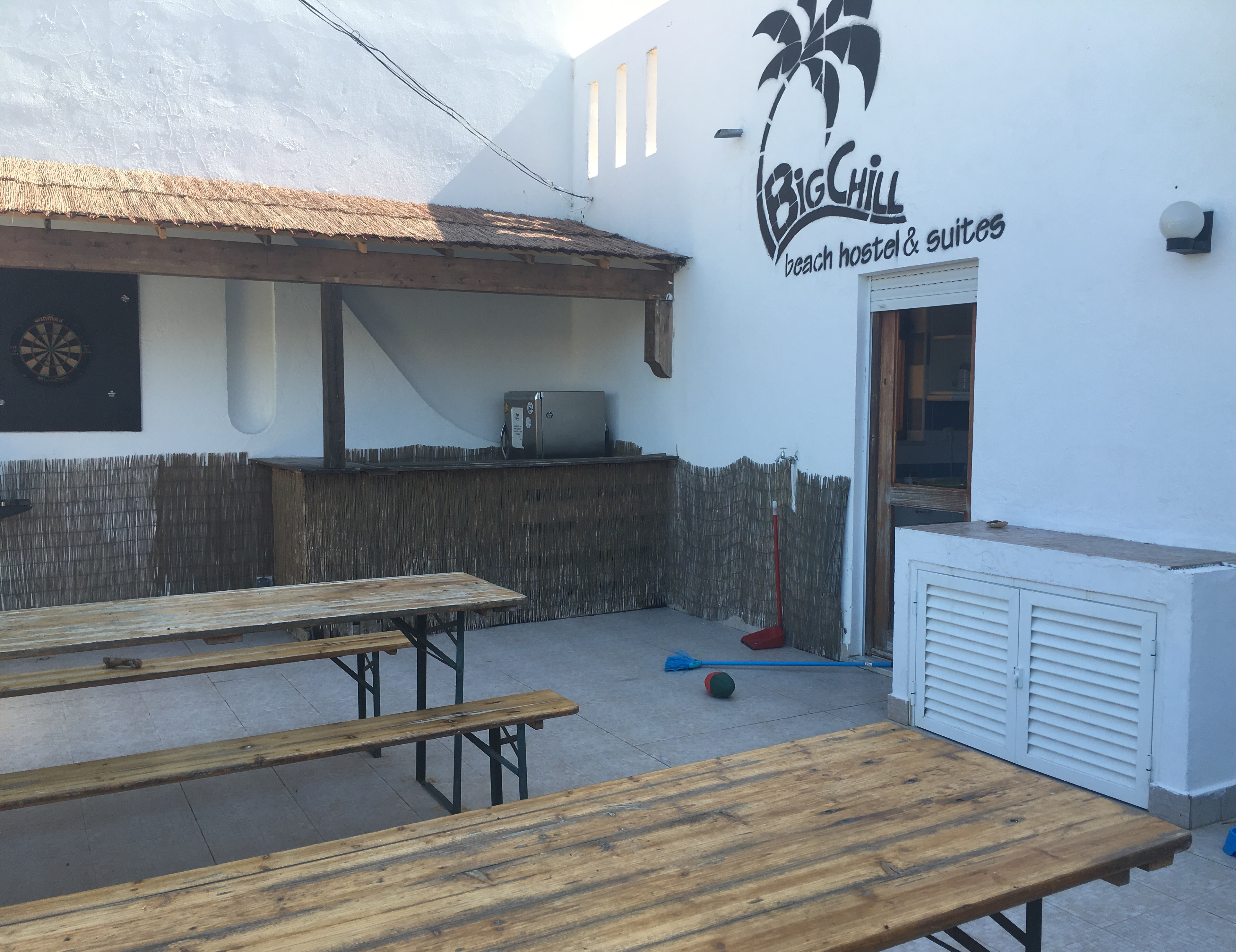 Patio area at The Big Chill Hostel in Lagos, Algarve, Potugal