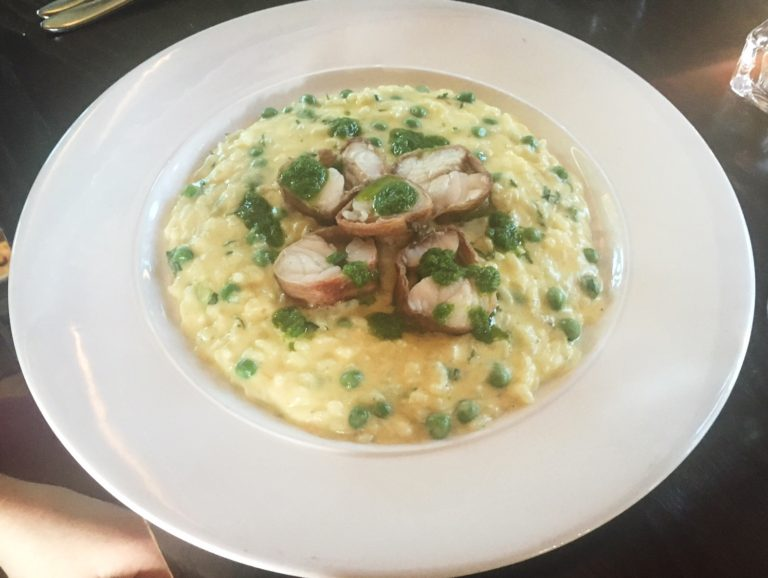 Parma ham-wrapped monkfish on a bed of creamy risotto, Chapel 1877 Cardiff