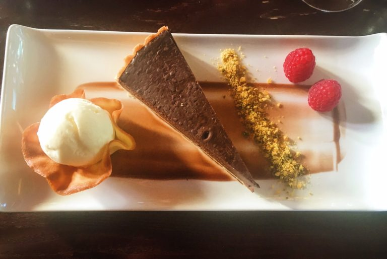 Chocolate tart, tonka bean ice cream and pistachio praline