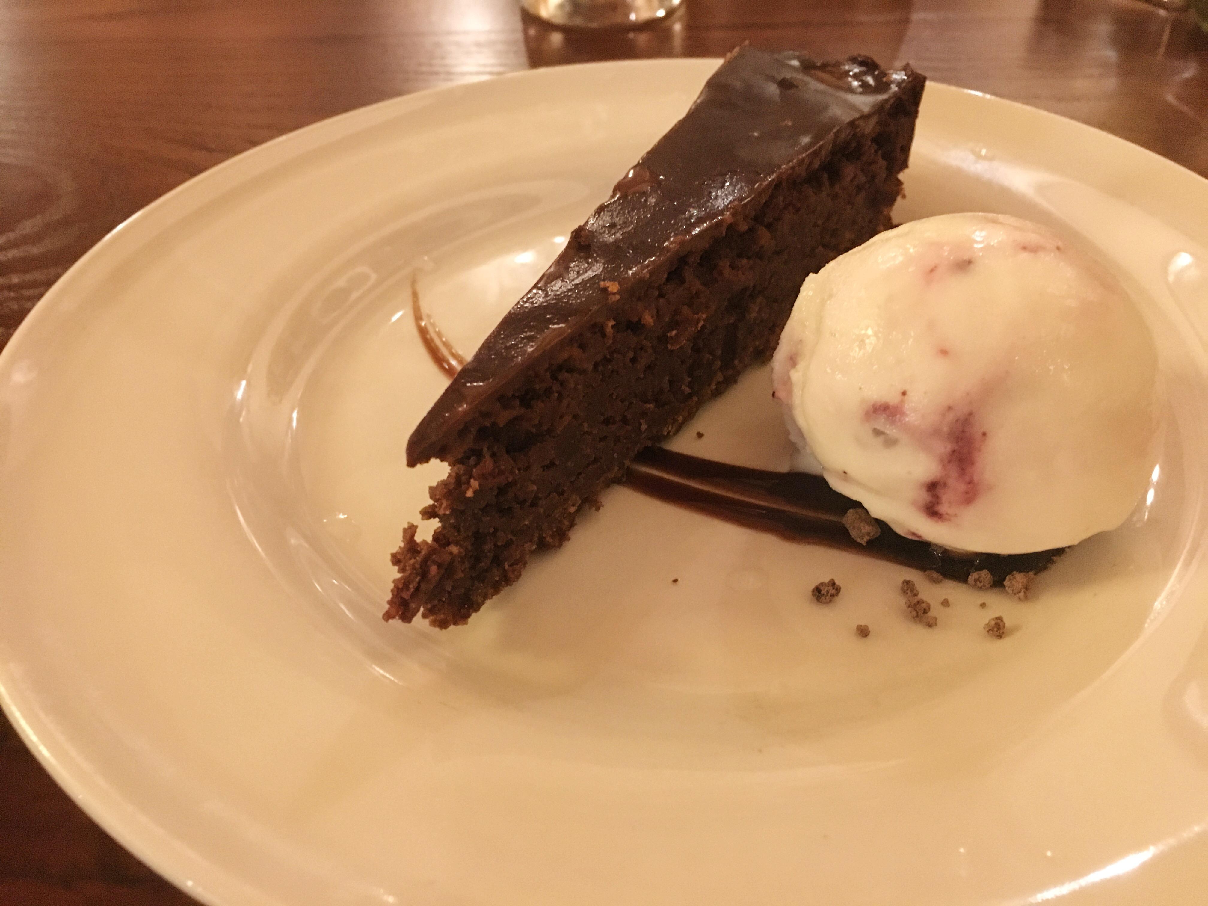 Chocolate torte with ice cream
