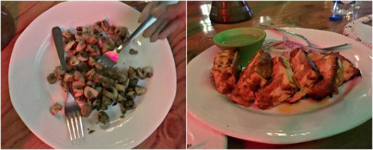 Garlic mushrooms and tikka paneer