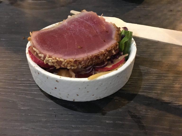 Sesame seared tuna loin with wasabi