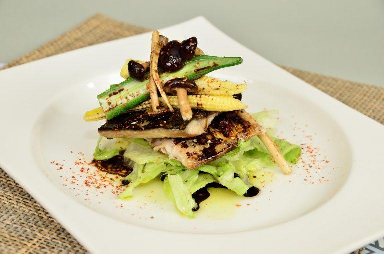 Eel and fish dish