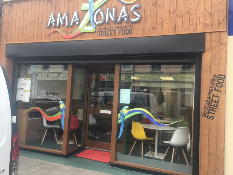 The front of Amazonas Portuguese and Brazilian Street Food, Cardiff