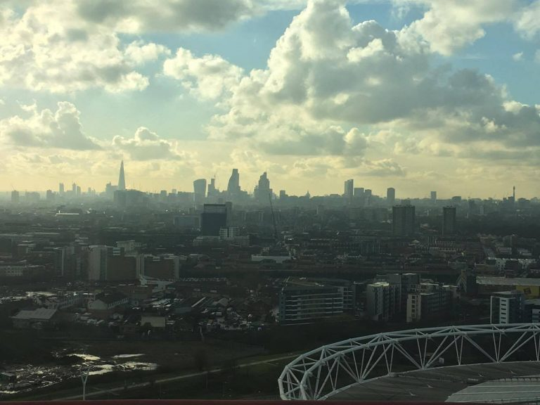 Views over Canary Wharf from Arcelormittal Orbit Slide, London