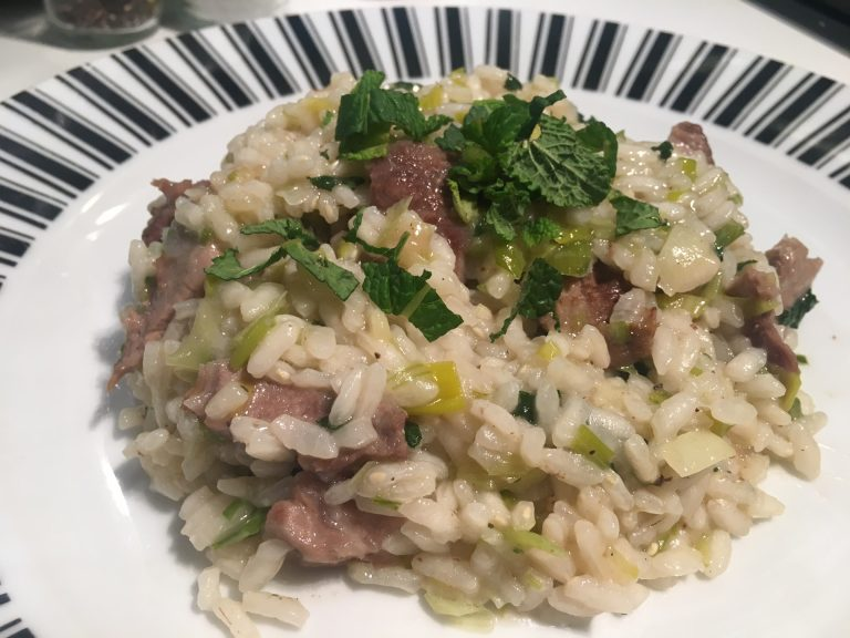 Lamb, leek and mint risotto
