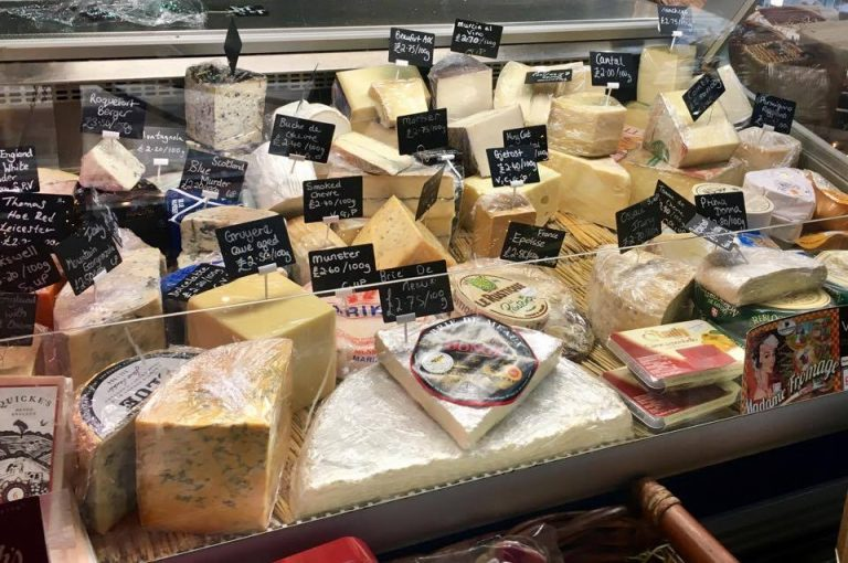 Cheese selection at Madame Fromage in Castle Arcade, Cardiff