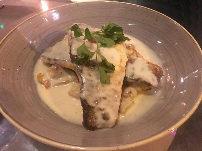 Pan-fried sea bass fillets