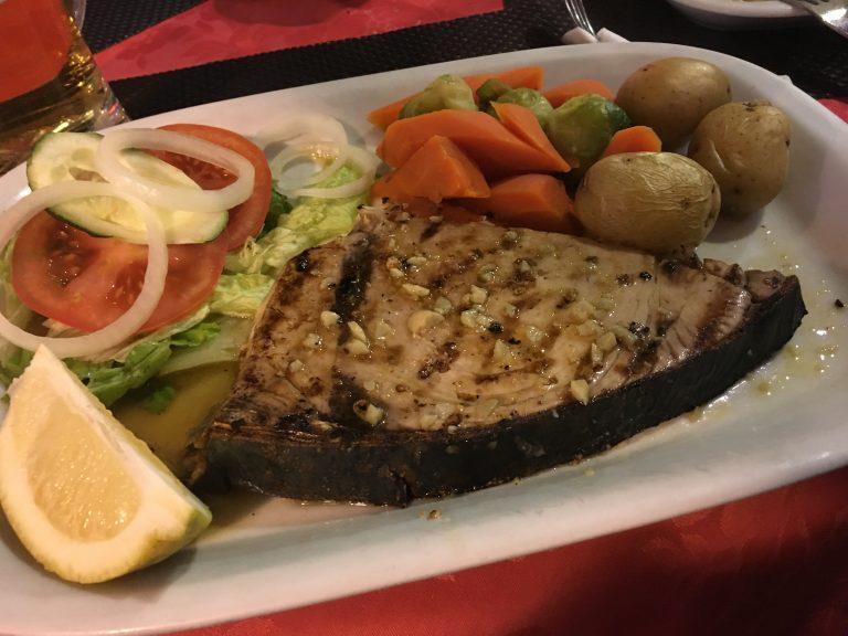 Grilled tuna in the Algarve, Portugal