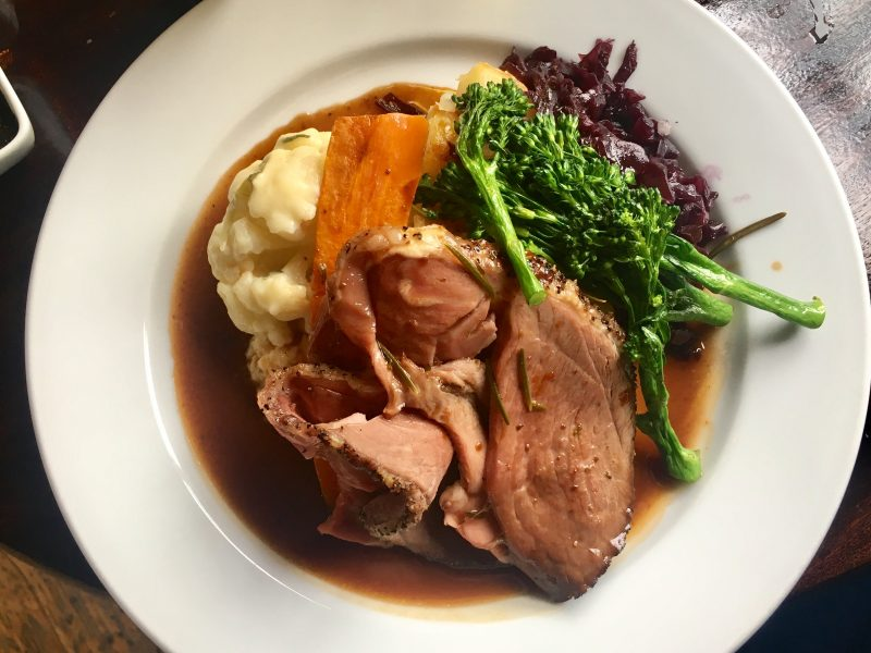 Sunday roast lamb dinner - one of the most popular British foods