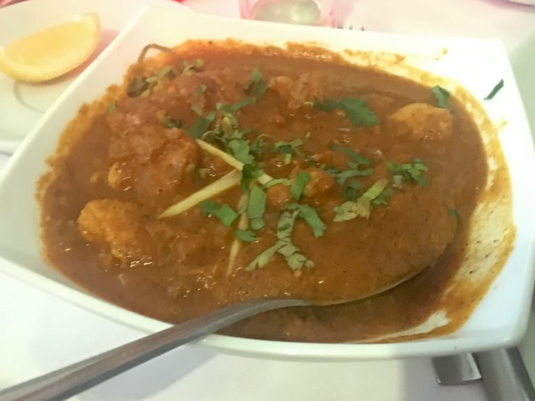 Chicken nettle curry in a bowl