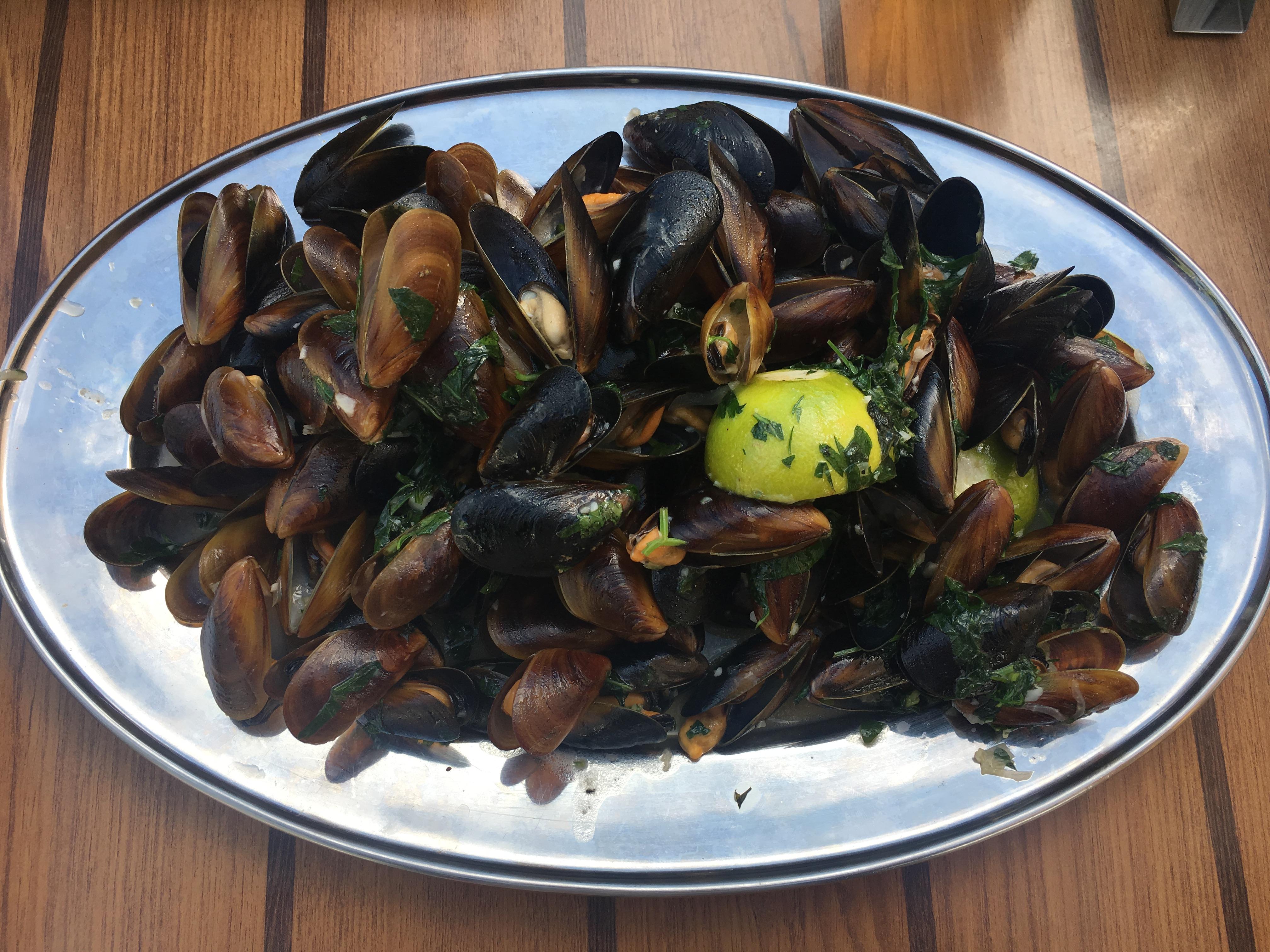 Black sea mussels at Djanny Restaurant in Sunny Beach, Bulgaria