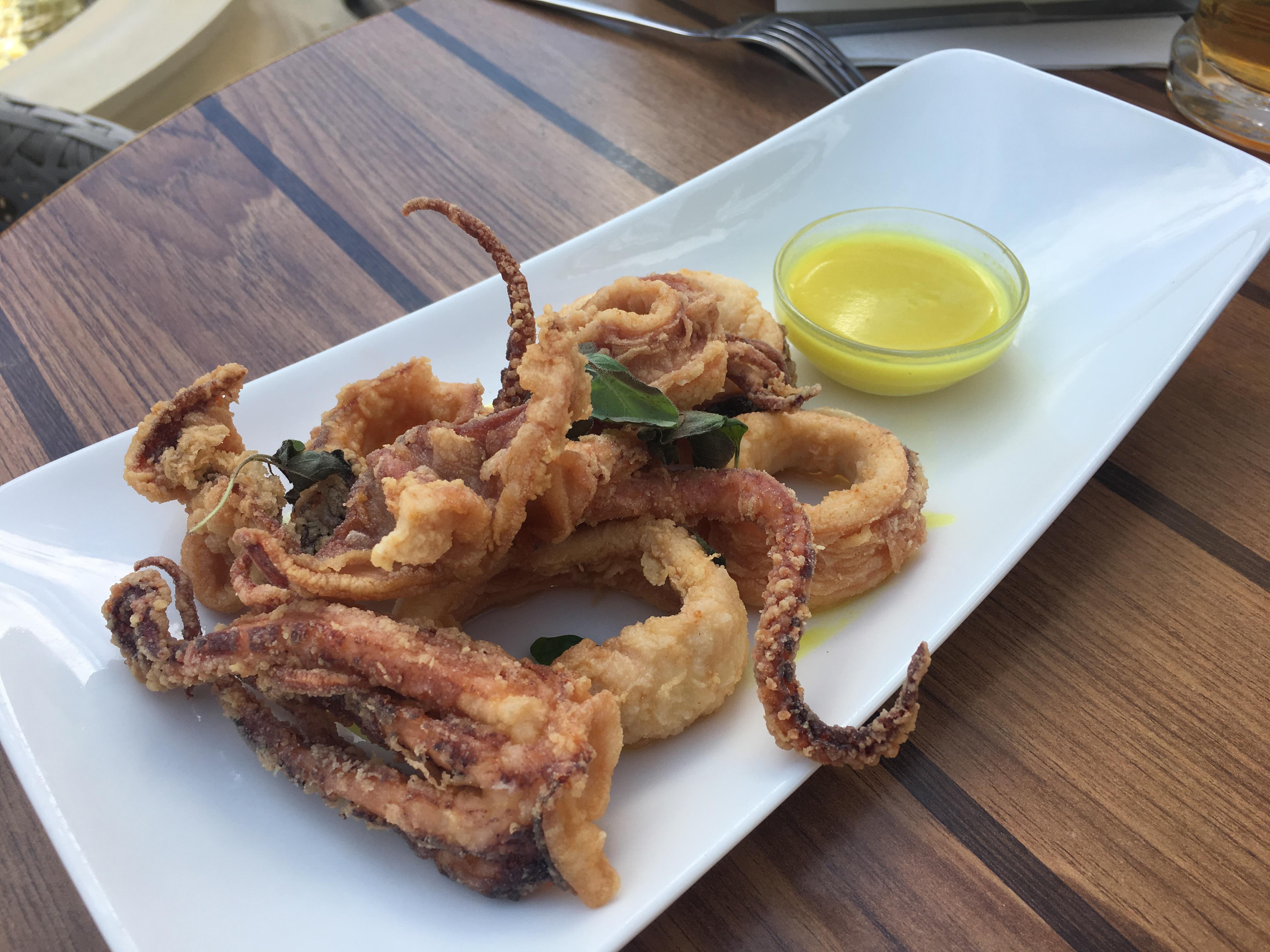 Crispy squid in batter at Djanny Restaurant, Sunny Beach