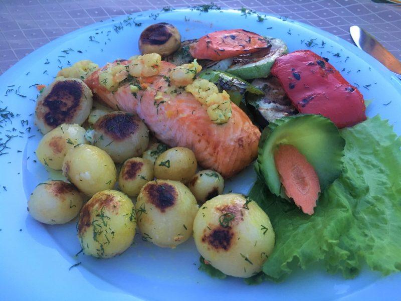 Salmon, potatoes and veg at Khan's Tent, Bulgara