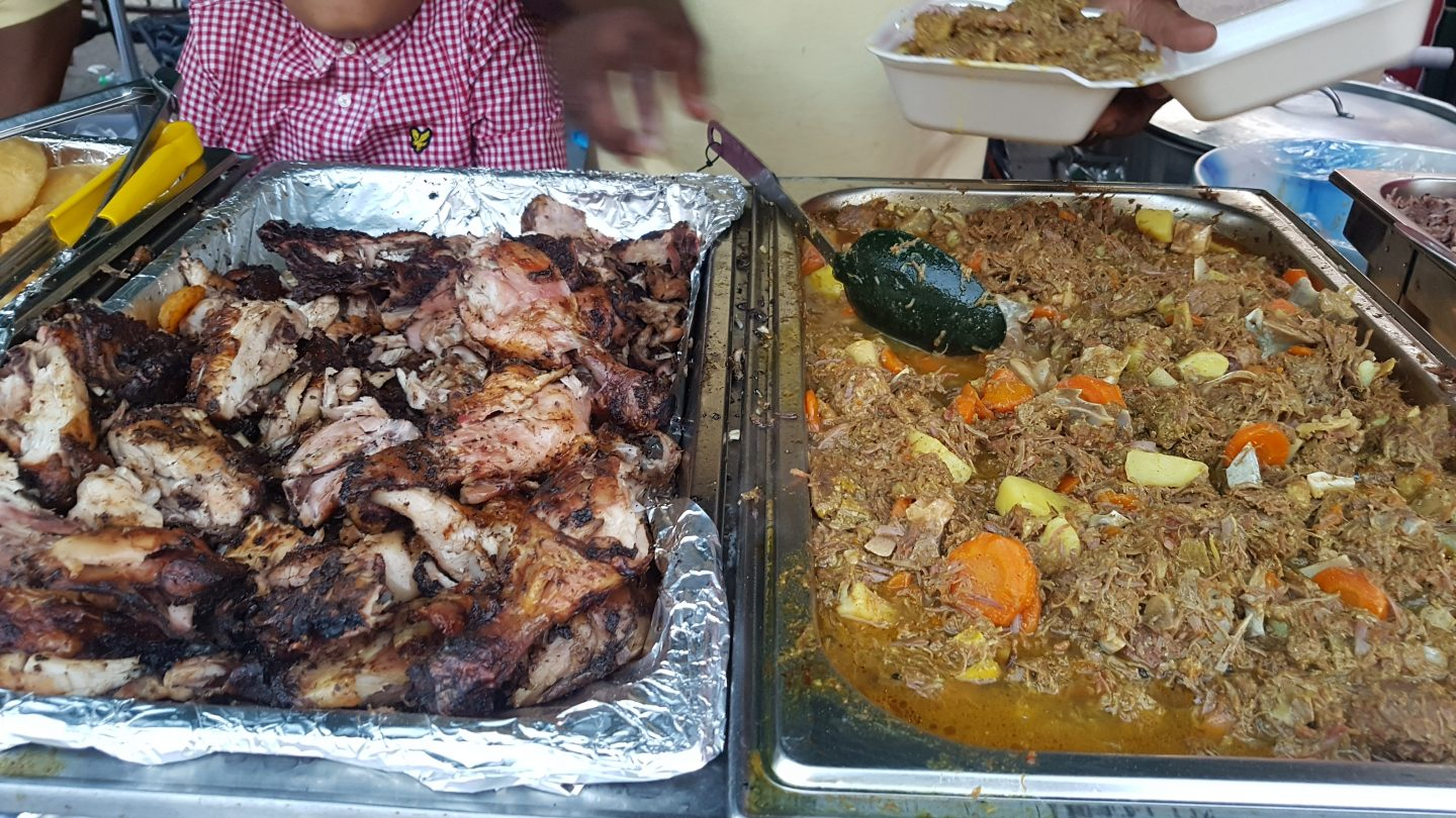 Jerk chicken and goat curry at Notting Hill Carnival