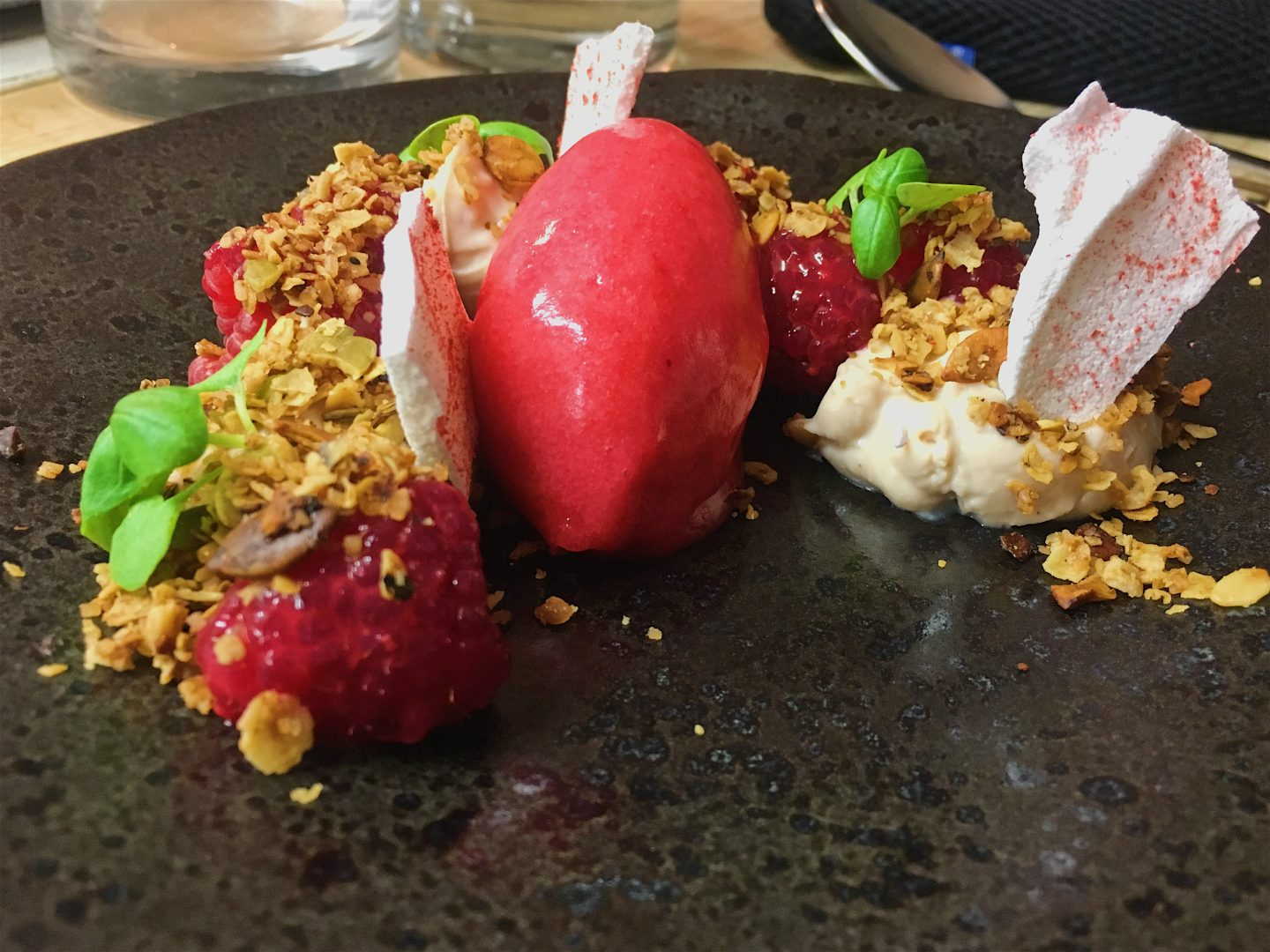 Raspberry and basil sorbet at Native in Neal's Yard - one of the top restaurants in Covent Garden