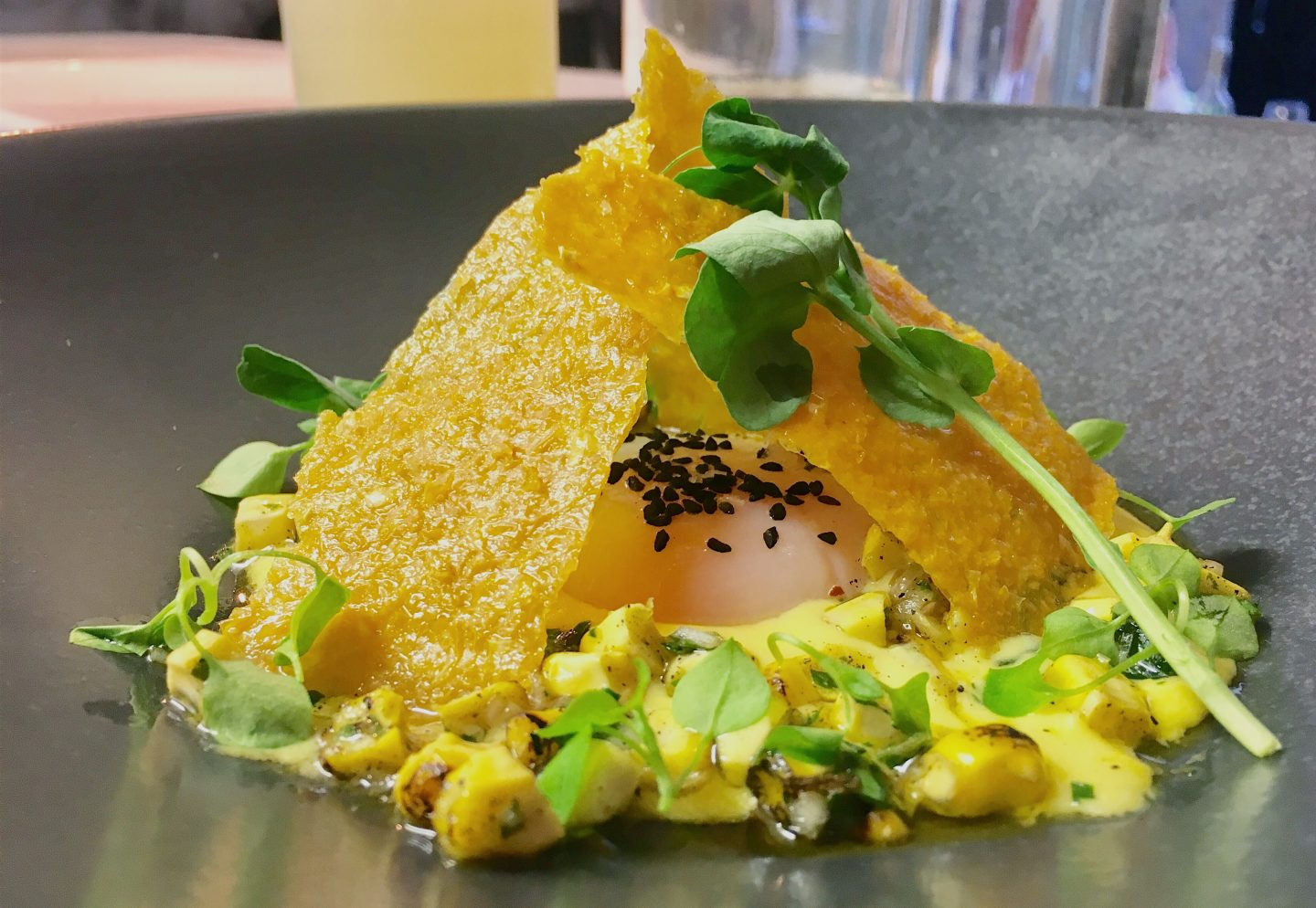 Fresh corn with 62 degree hen's egg at Native, Neal's Yard in Covent Garden, London