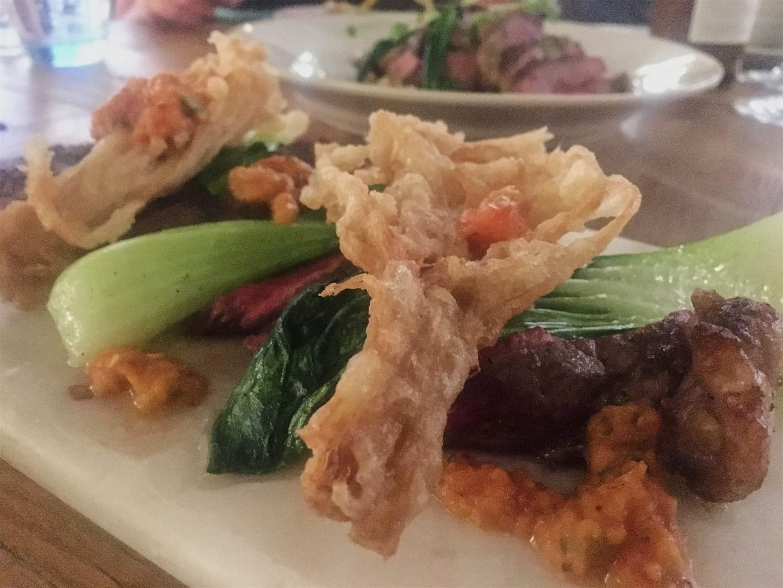 Steak with tempura mushroom at Admiral St David