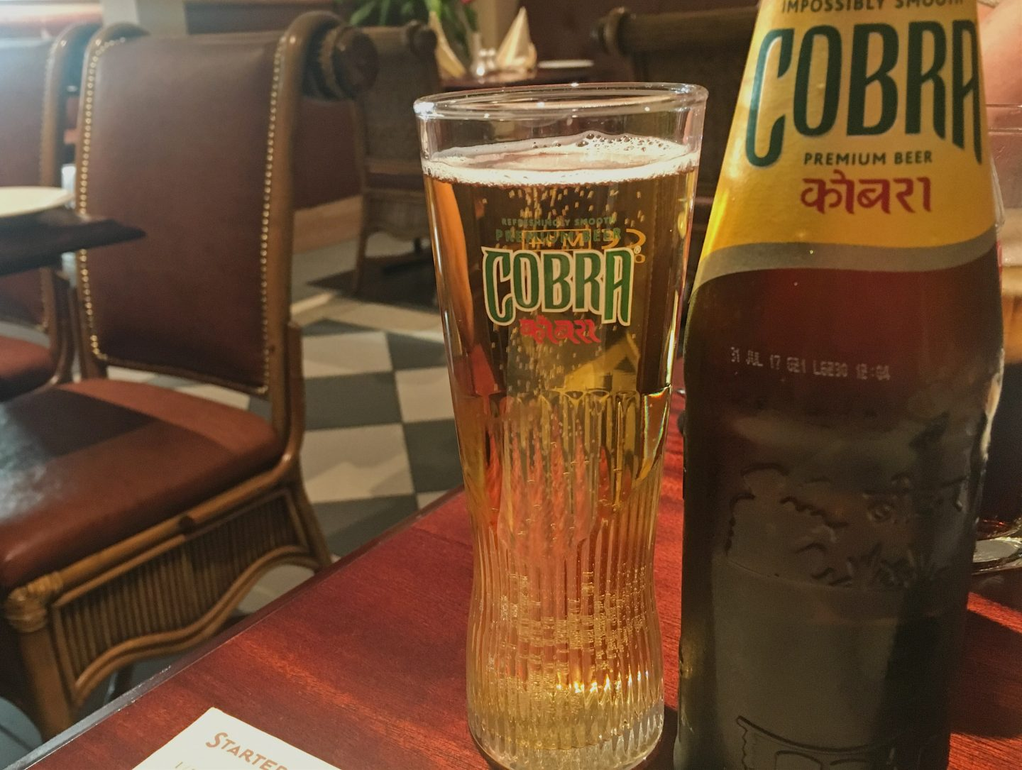 Cobra beer at Bombay Grill Indian restaurant on City Road, Cardiff