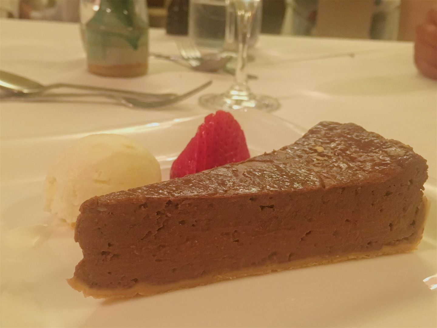 Chocolate and Baileys tart at Gliffaes Country House Hotel