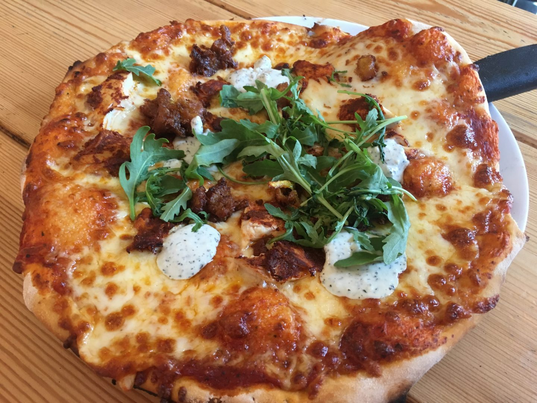 Tandoori chicken pizza at Tiny Rebel Cardiff