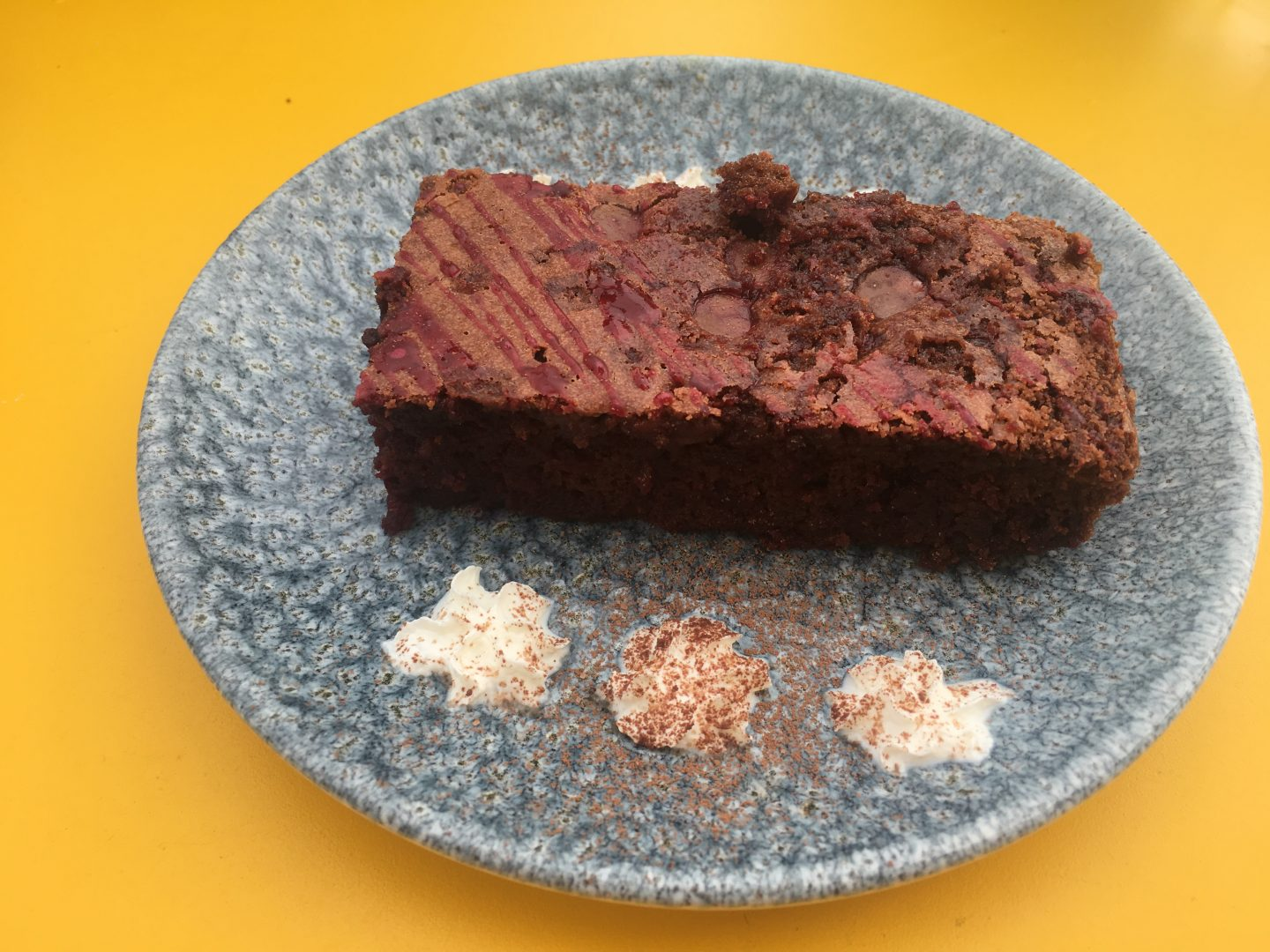 Beetroot brownie at Caffi Sio, Cardiff Bay