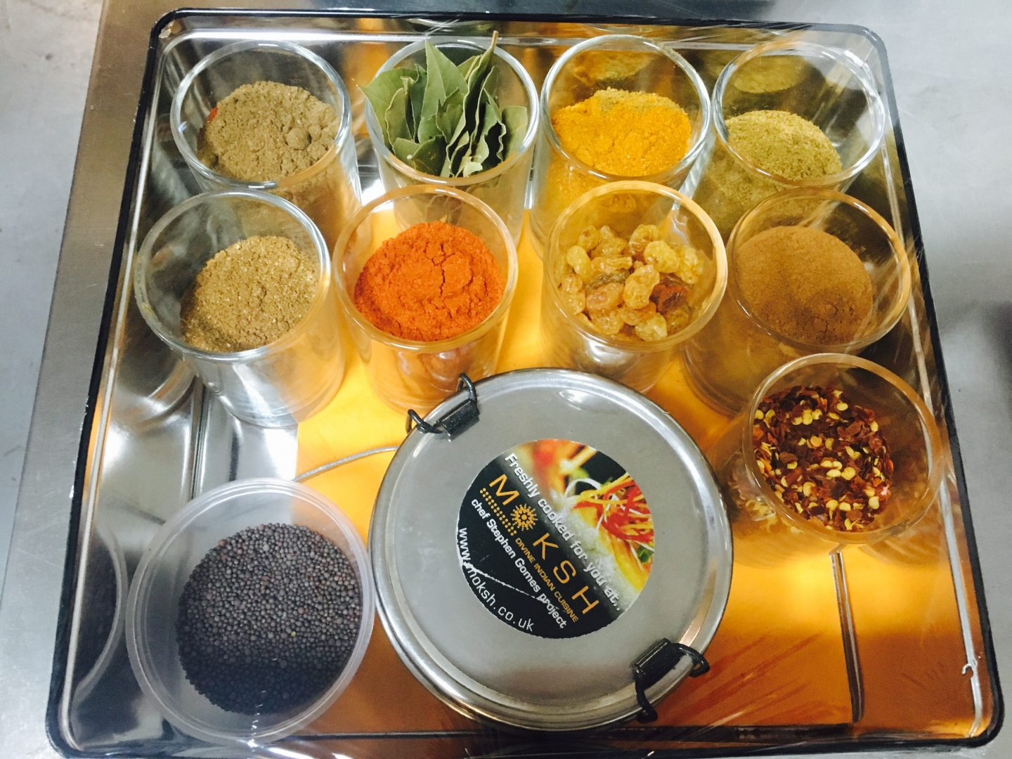 Tin of spices to take home after Moksh cookery class