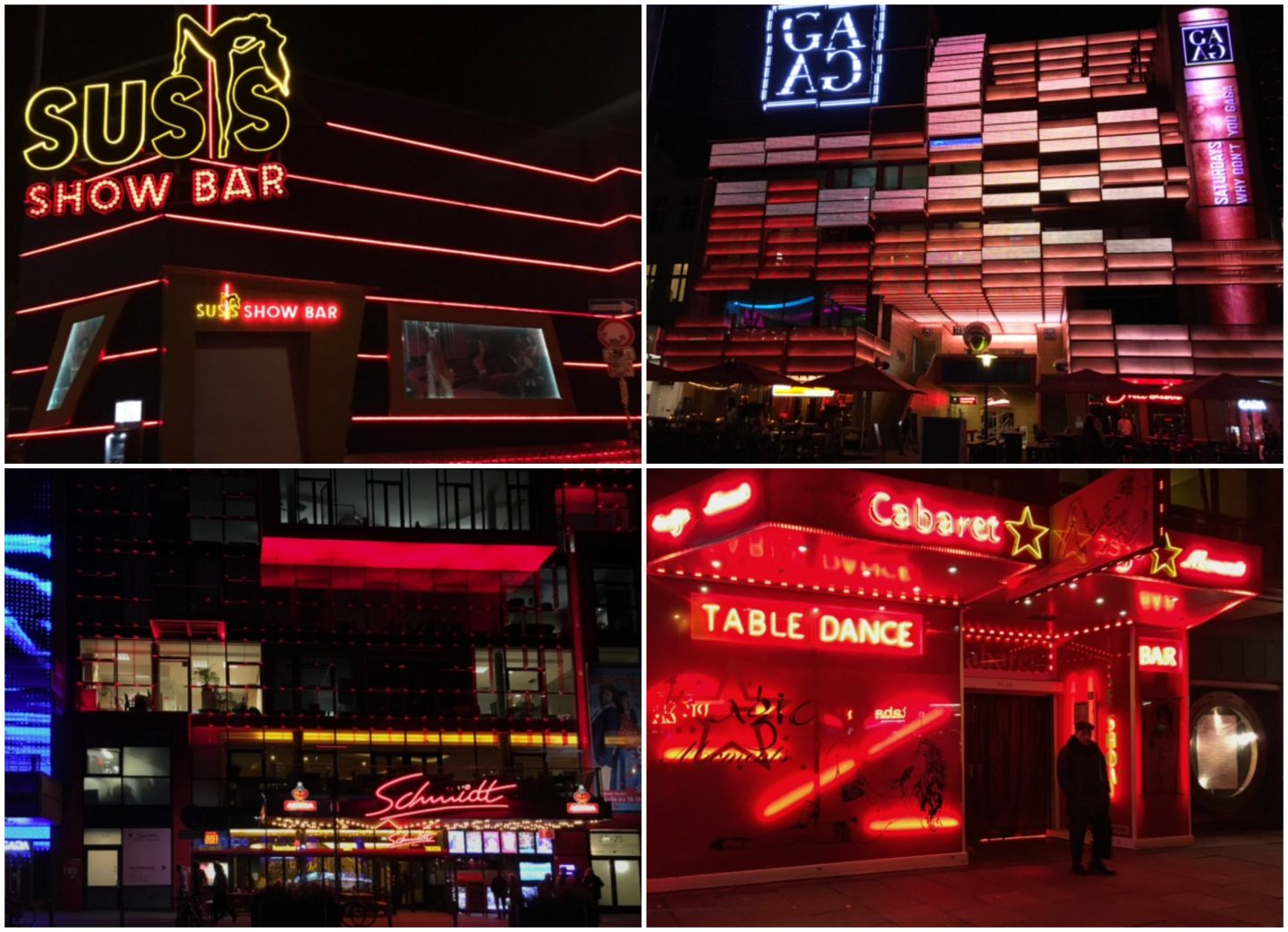 Clubs and bars on the Reeperbahn in St. Pauli, Hamburg